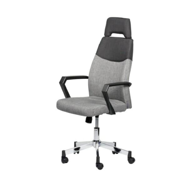 Елегантен сив офис стол с висока облегалка-снимка отстрани