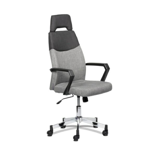 Елегантен сив офис стол с висока облегалка