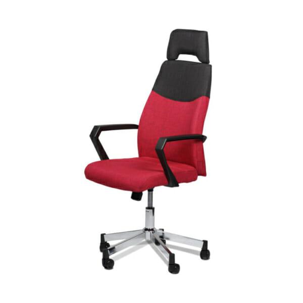 Елегантен червен офис стол с висока облегалка-снимка отстрани