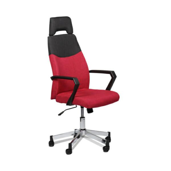 Елегантен червен офис стол с висока облегалка