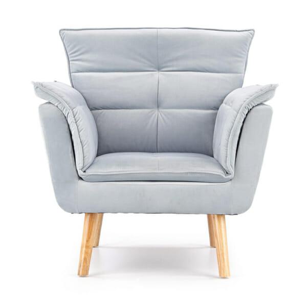 Изключително удобно кресло в модерен стил-цвят светлосив-снимка отпред