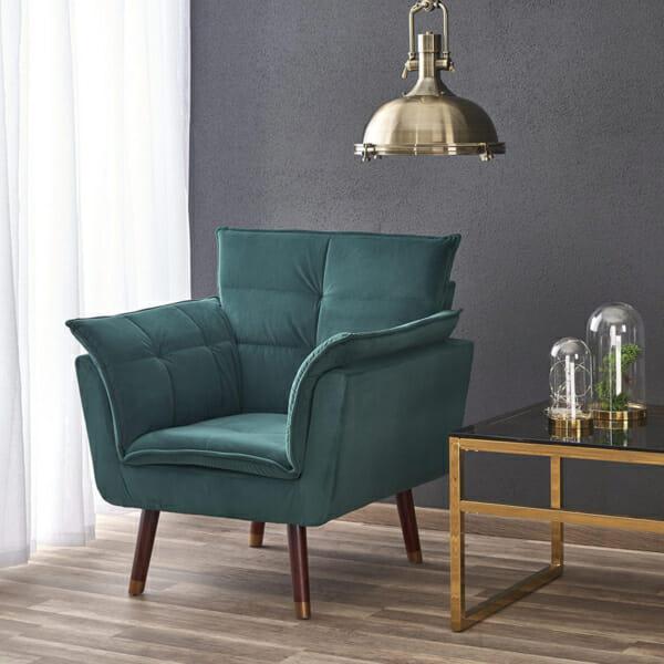 Изключително удобно кресло в модерен стил-цвят тъмнозелен-интериор