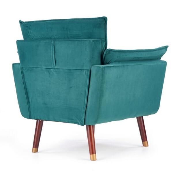 Изключително удобно кресло в модерен стил-цвят тъмнозелен-снимка отзад