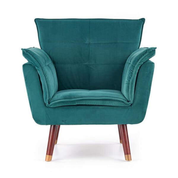 Изключително удобно кресло в модерен стил-цвят тъмнозелен-снимка отпред