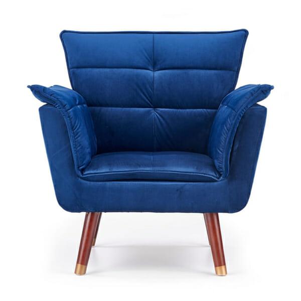 Изключително удобно кресло в модерен стил-цвят тъмносин-снимка отпред