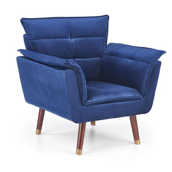 Изключително удобно кресло в модерен стил-цвят тъмносин