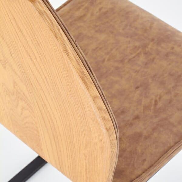 Кафяв стол със седалка от еко кожа и дървен гръб - отгоре