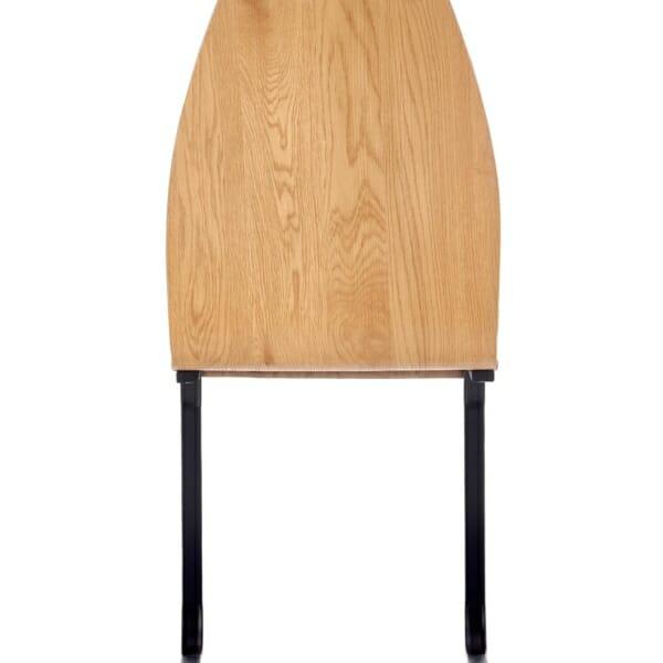 Кафяв стол със седалка от еко кожа и дървен гръб - отзад