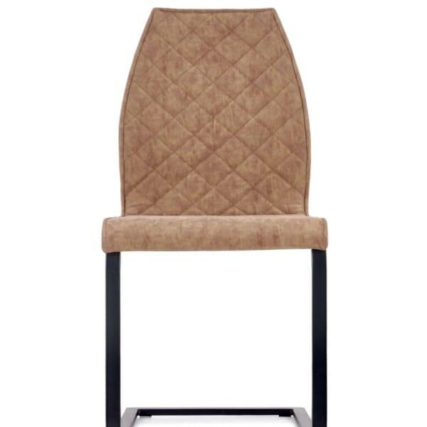 Кафяв стол със седалка от еко кожа и дървен гръб - отпред