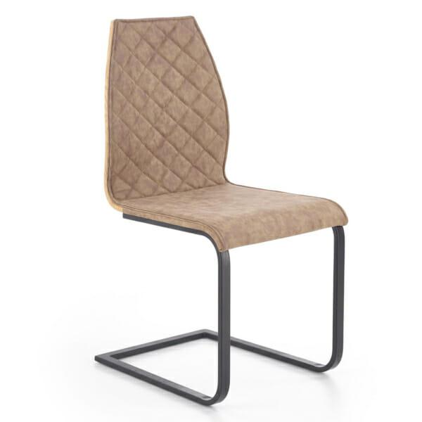 Кафяв стол със седалка от еко кожа и дървен гръб
