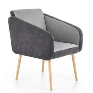 Комфортно двуцветно кресло с дървени крака-тъмносиво и светлосиво