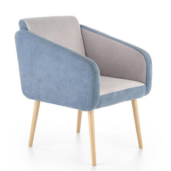 Комфортно двуцветно кресло с дървени крака-тюркоаз+сиво