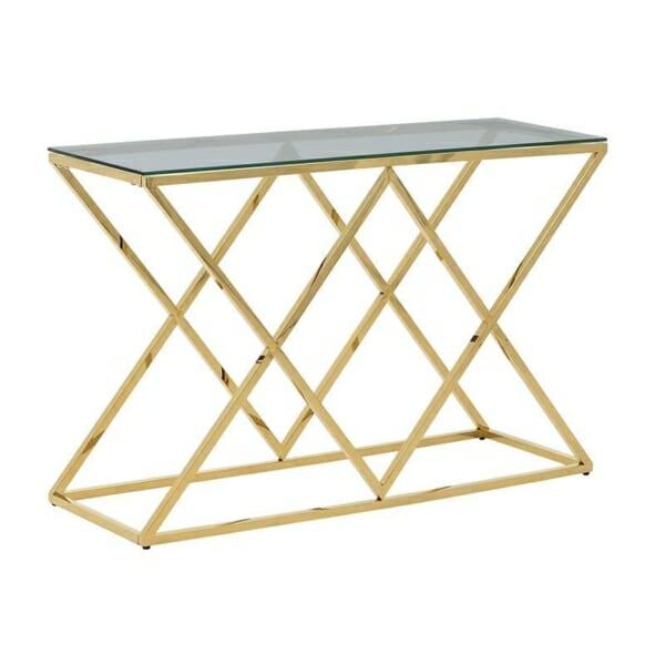 Конзолна маса в златисто със стъклен плот