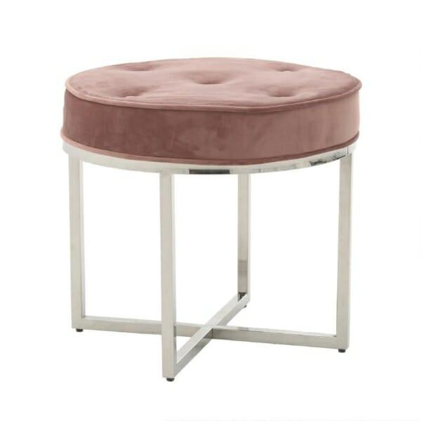 Кръгла табуретка от стомана и кадифе в розово