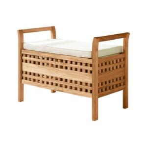 Малка дървена пейка за антре с възглавничка