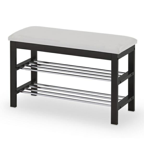 Малка пейка за антре с място за обувки-бяло и черно