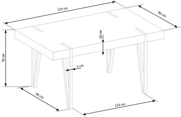 Маса за трапезария с триъгълни крака Дилън-схема