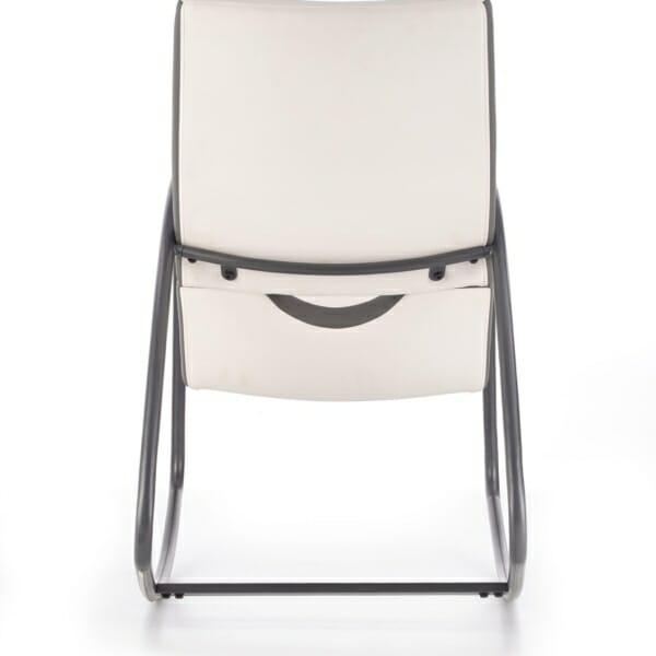 Модерен люлеещ се стол в бяло и сиво - отзад