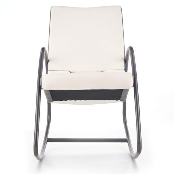 Модерен люлеещ се стол в бяло и сиво - отпред