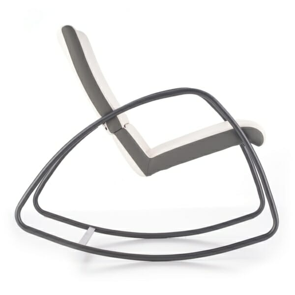 Модерен люлеещ се стол в бяло и сиво - отстрани