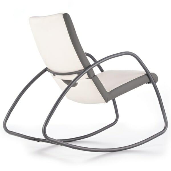 Модерен люлеещ се стол в бяло и сиво - странично