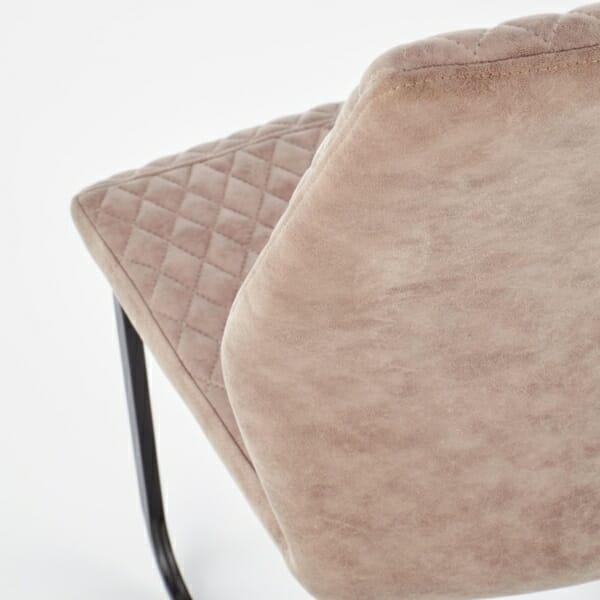 Модерен стол от еко кожа в тъмнобежово - облегалка