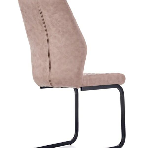 Модерен стол от еко кожа в тъмнобежово - отзад