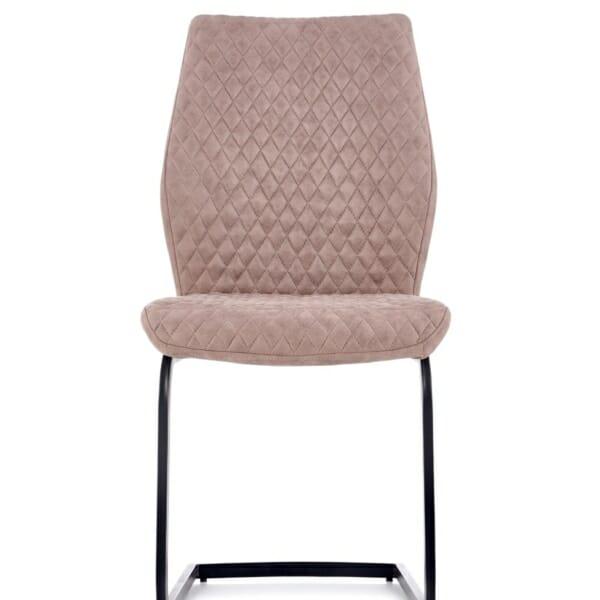 Модерен стол от еко кожа в тъмнобежово - отпред