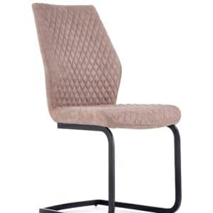 Модерен стол от еко кожа в тъмнобежово