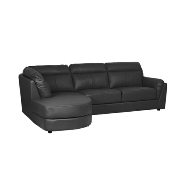 Модерен ъглов диван от естествена кожа - цвят графит