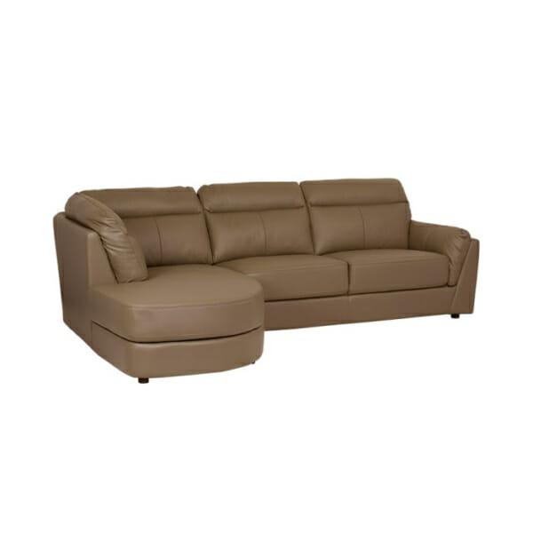 Модерен ъглов диван от естествена кожа - цвят капучино