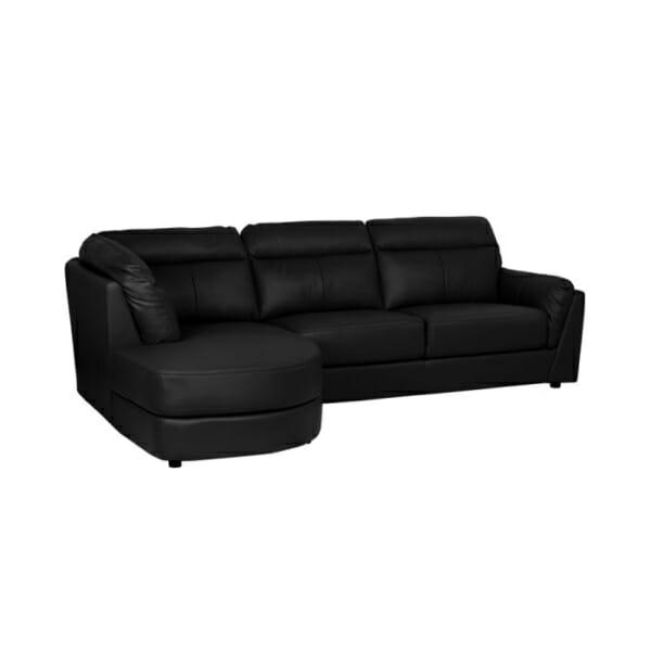 Модерен черен ъглов диван от естествена кожа