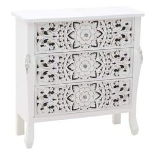 Плитък бял скрин с нежна декорация