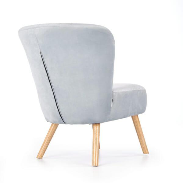 Светлосив тапициран стол с извита облегалка и дървени крака-снимка отзад