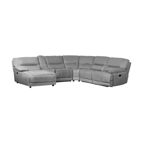 Сив ъглов кожен диван с лежанка 2 релакс механизма и бар функция