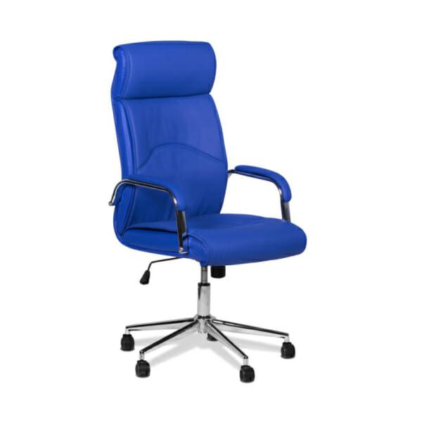 Син директорски офис стол от еко кожа