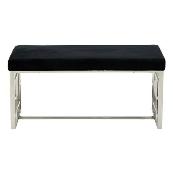 Стилна интериорна пейка в черно и сребристо - отпред