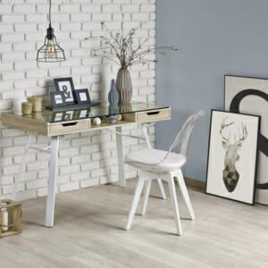 Стилно бюро в цвят дъб сонома и бяло Нордик