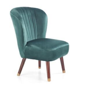 Тъмнозелен тапициран стол с извита облегалка и дървени крака