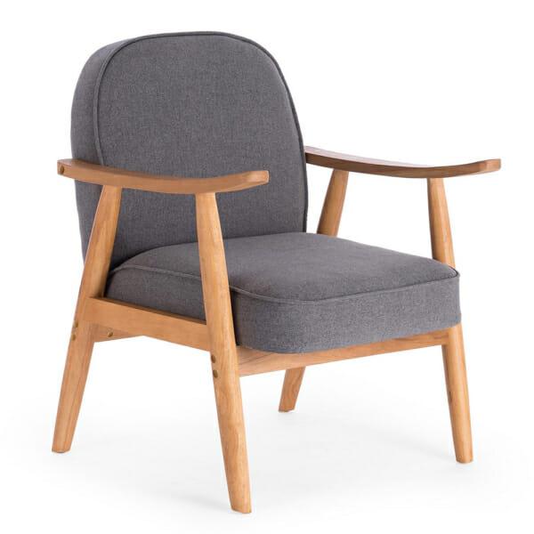 Тъмносив стол в ретро стил с мека седалка и облегалка