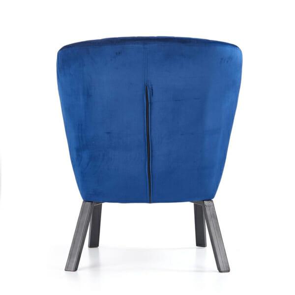 Тъмносин тапициран стол с извита облегалка и дървени крака-снимка отзад