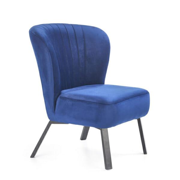 Тъмносин тапициран стол с извита облегалка и дървени крака