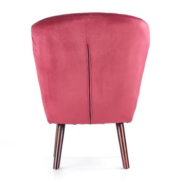 Червен тапициран стол с извита облегалка и дървени крака-снимка отзад