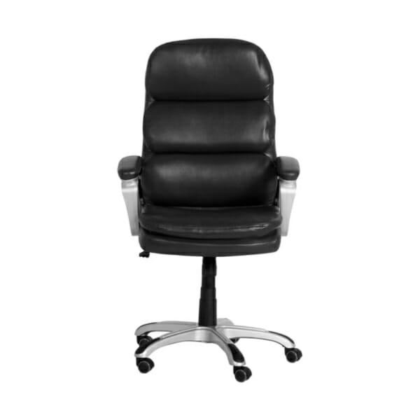 Черен директорски офис стол от еко кожа-снимка отпред