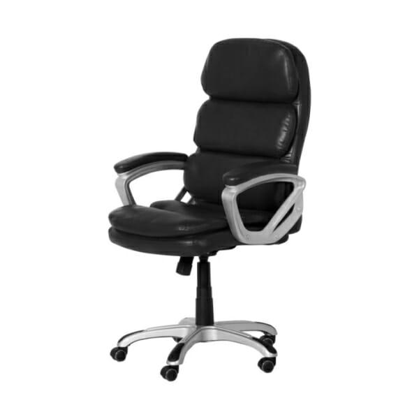 Черен директорски офис стол от еко кожа-снимка отстрани