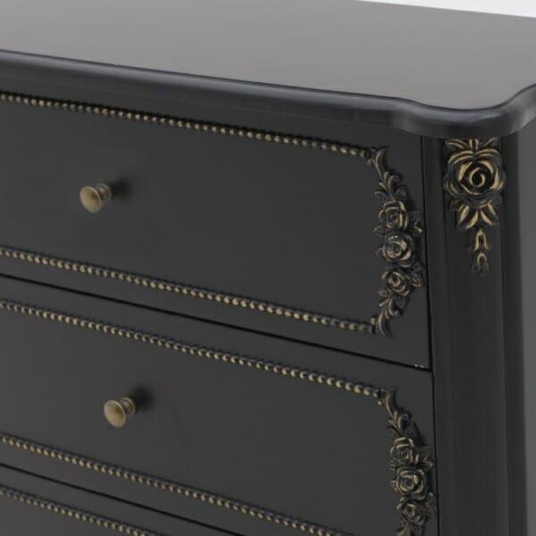 Черен дървен скрин с 3 чекмеджета - отблизо
