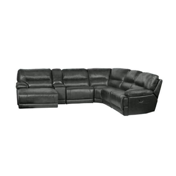 Ъглов кожен диван с лежанка 2 релакс механизма и бар функция-цвят графит