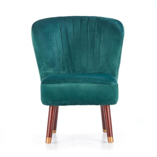 Тъмнозелен тапициран стол с извита облегалка и дървени крака-снимка отпред