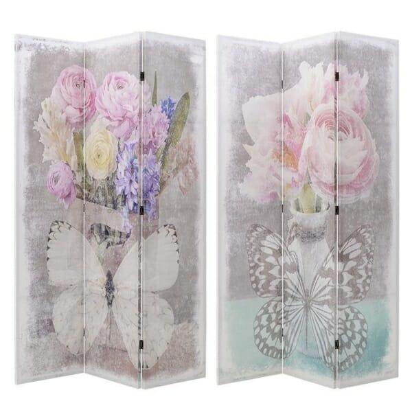 Двулицев винтидж параван с цветя и пеперуди
