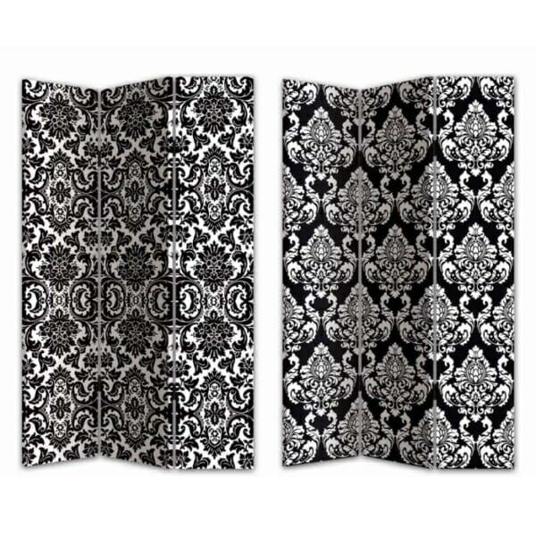 Интериорен параван с две лица в черно и бяло